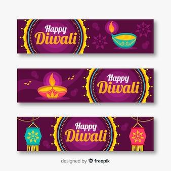 Flat diwali web banners