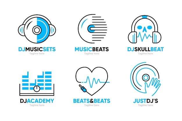 Плоская коллекция логотипов dj