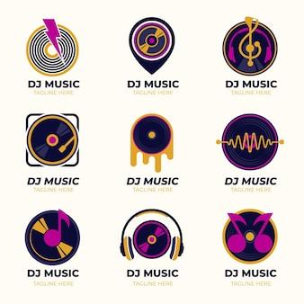 Flat dj logo collection