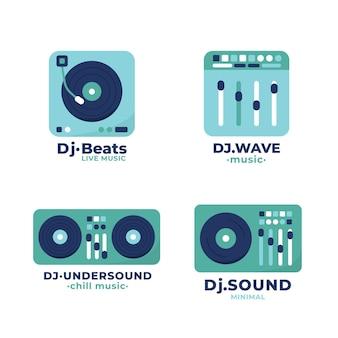 플랫 dj 로고 컬렉션