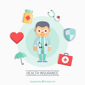 Плоский врач и элементы здоровья
