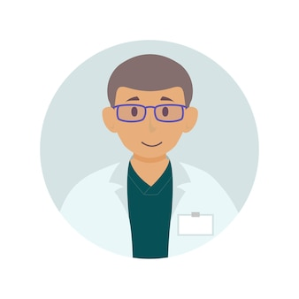 Flat doctor avatar for website chat window support message chatting app isolated on white background