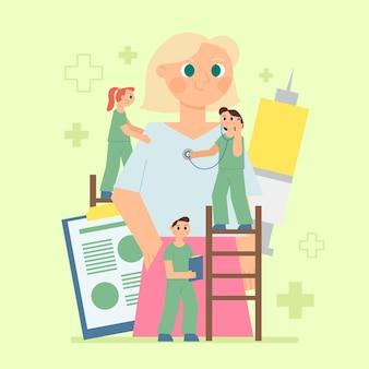 삽화가 병원에서 환자를 검사하는 평면 의사