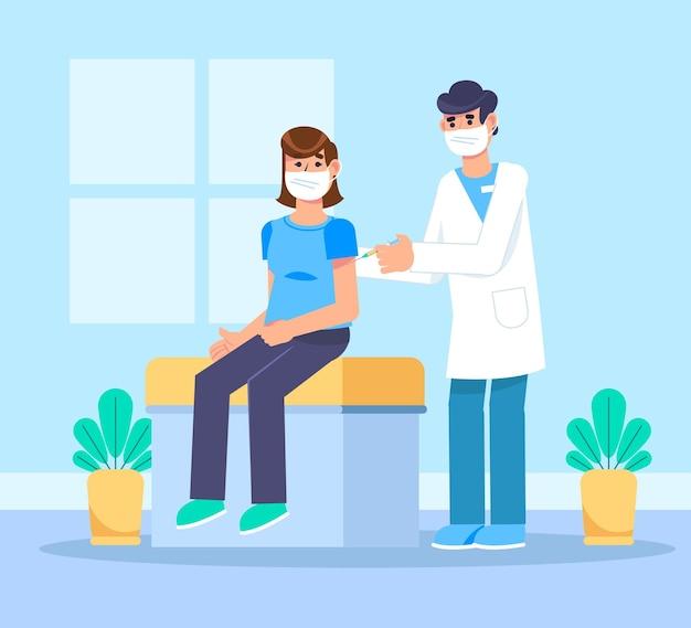 患者にワクチンを注射するフラットドクター
