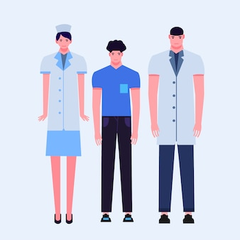 Flat doctor, patient, nurse illustration Premium Vector