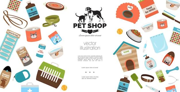 Modello di prodotti per cani e gatti piatto