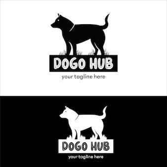 Flat dog log vector design template