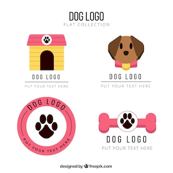 Flat dog logos with pink details
