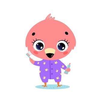 플랫 낙서 귀여운 만화 아기 플라밍고 양치질. 동물들은 이를 닦습니다.
