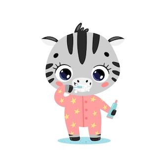 Плоский каракули милый мультфильм ребенок зебра чистка зубов. животные чистят зубы.
