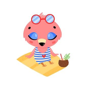 평면 낙서 귀여운 만화 여름 플라밍고 해변에서 일광욕. 열대 정글 동물