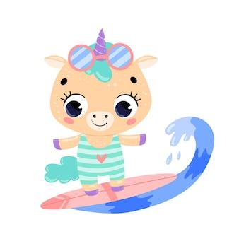 Flat doodle cute cartoon summer surfing unicorn.
