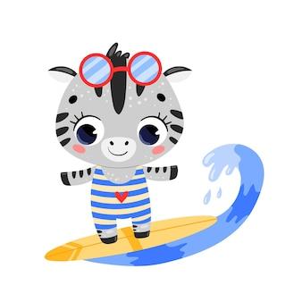 Плоский каракули милый мультфильм летом серфинг зебра.