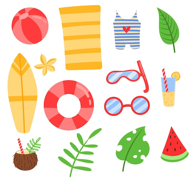 フラット落書きかわいい漫画夏の熱帯のビーチセット