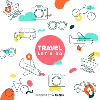 Flat doodle elements travel background