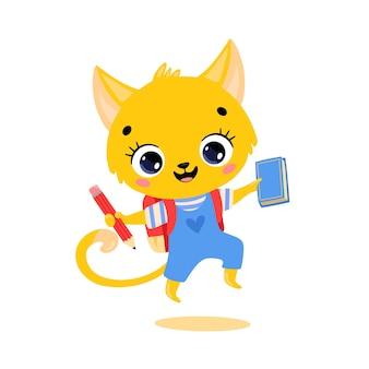 Плоский рисунок милый мультяшный кот идет в школу. животные снова в школу