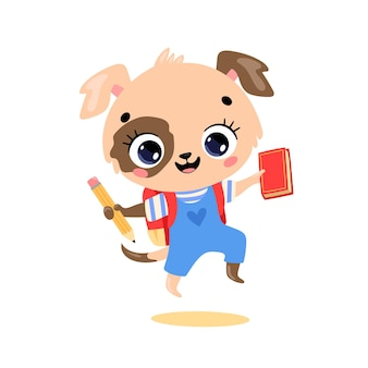 학교에 가는 귀여운 만화 강아지의 평평한 낙서. 학교로 돌아온 동물들