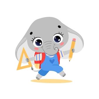 학교에 가는 귀여운 만화 코끼리의 평평한 낙서. 학교로 돌아온 동물들
