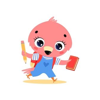 귀여운 만화 플라밍고가 학교에 동물을 다시 학교로 보내는 평면 낙서
