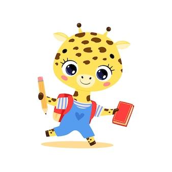 Плоский рисунок милого мультяшного жирафа ходит в школу. животные снова в школу