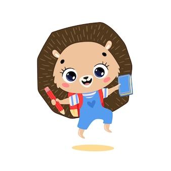 Плоский рисунок милый мультяшный ёжик ходит в школу. животные снова в школу