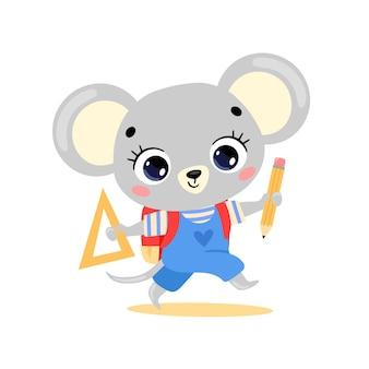 학교에 가는 귀여운 만화 쥐의 평평한 낙서. 학교로 돌아온 동물들