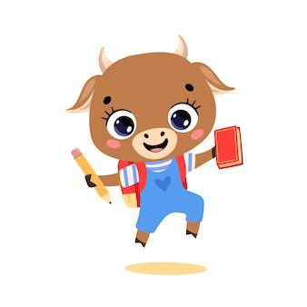 Плоский рисунок милый мультяшный коровий бык ходит в школу. животные снова в школу