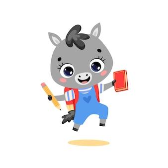 Плоский рисунок милой мультяшной ослиной лошади идет в школу животных обратно в школу