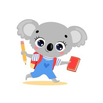 Плоский рисунок милый мультфильм коала идет в школу. животные снова в школу