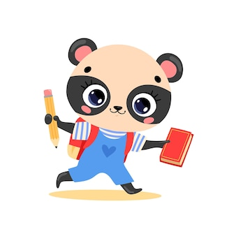 Плоский рисунок милого мультяшного медведя панды ходит в школу. животные снова в школу