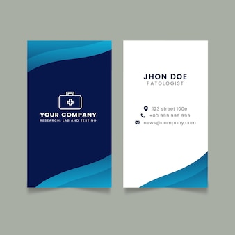 Flat double-sided vertical business card Free Vector
