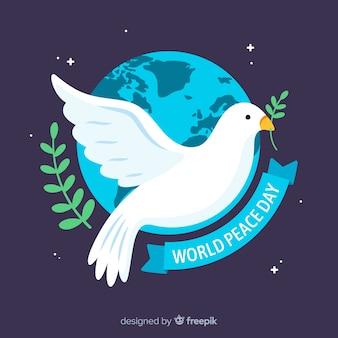 Плоский голубь мира день фон
