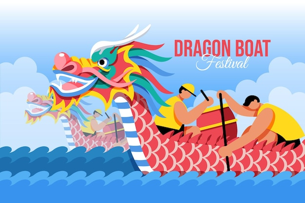 Flat dragon boat background