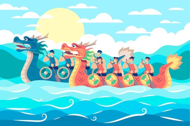 Flat dragon boat background