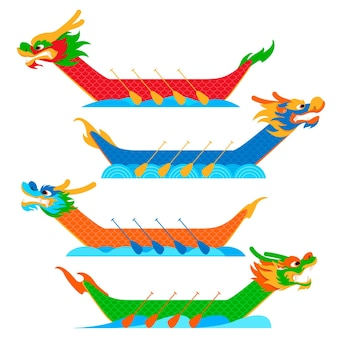 Коллекция плоских лодок-драконов