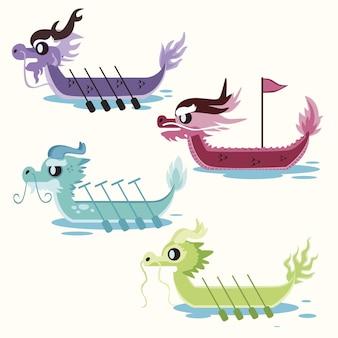 Collezione flat dragon boat Vettore gratuito