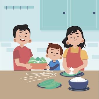 Семья плоских лодок-драконов готовит и ест иллюстрацию цзунцзы