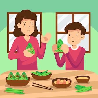 Famiglia piatta della barca del drago che prepara e mangia l'illustrazione di zongzi