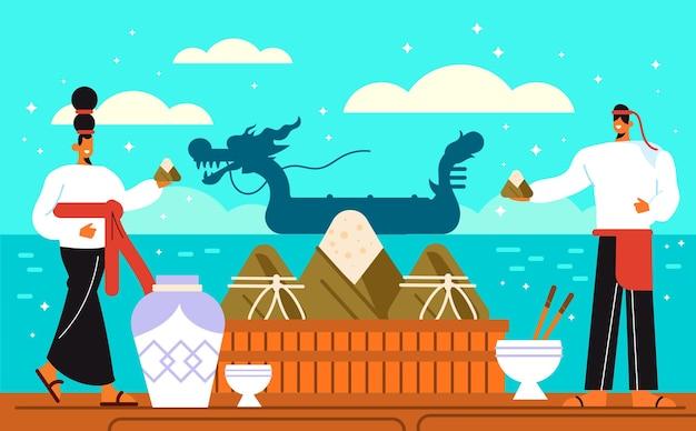 Иллюстрация фестиваля плоских лодок-драконов