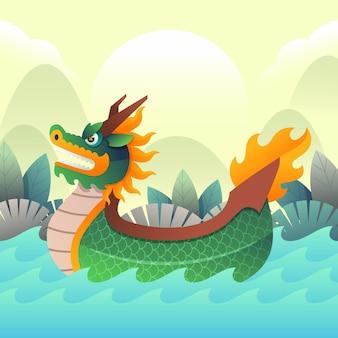 плоская лодка-дракон иллюстрация