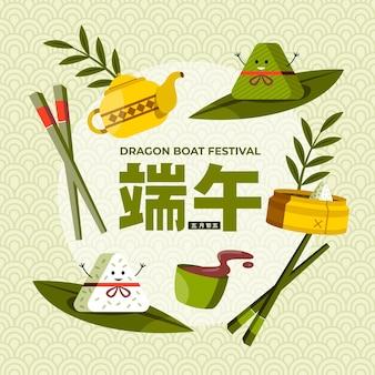 Flat dragon boat illustration