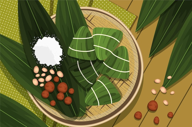 Flat dragon boat's zongzi background