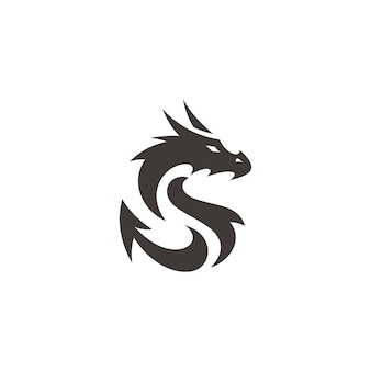 Flat dragon silhouette dragon illustration vector logo in black and white color