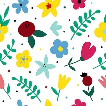 귀여운 꽃과 열매와 평면 그려진된 꽃 원활한 색상 패턴 만화 텍스처