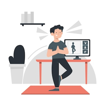 Flat drawn online sport classes concept illustrated
