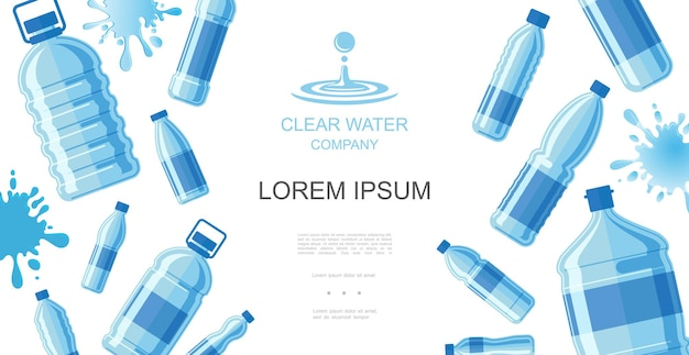 Flat drinking water concept with plastic bottles of pure aqua and liquid splashes