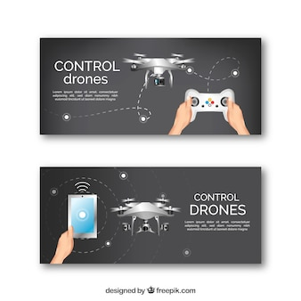 Flat drone banners