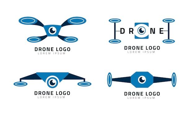 플랫 드론 로고 컬렉션
