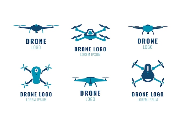 Flat drone logo collection
