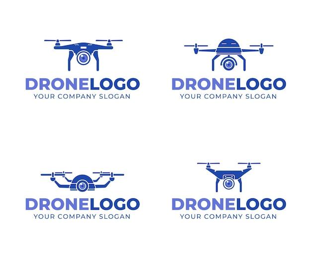 Collezione di logo drone piatto